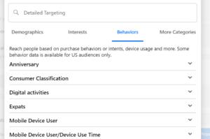 facebook targeting by behaviour